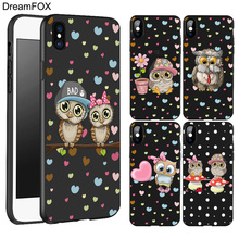 L574 Cute Owl Black Soft TPU Silicone Case Cover For Apple iPhone 11 Pro XR XS Max X 8 7 6 6S Plus 5 5S 5G SE