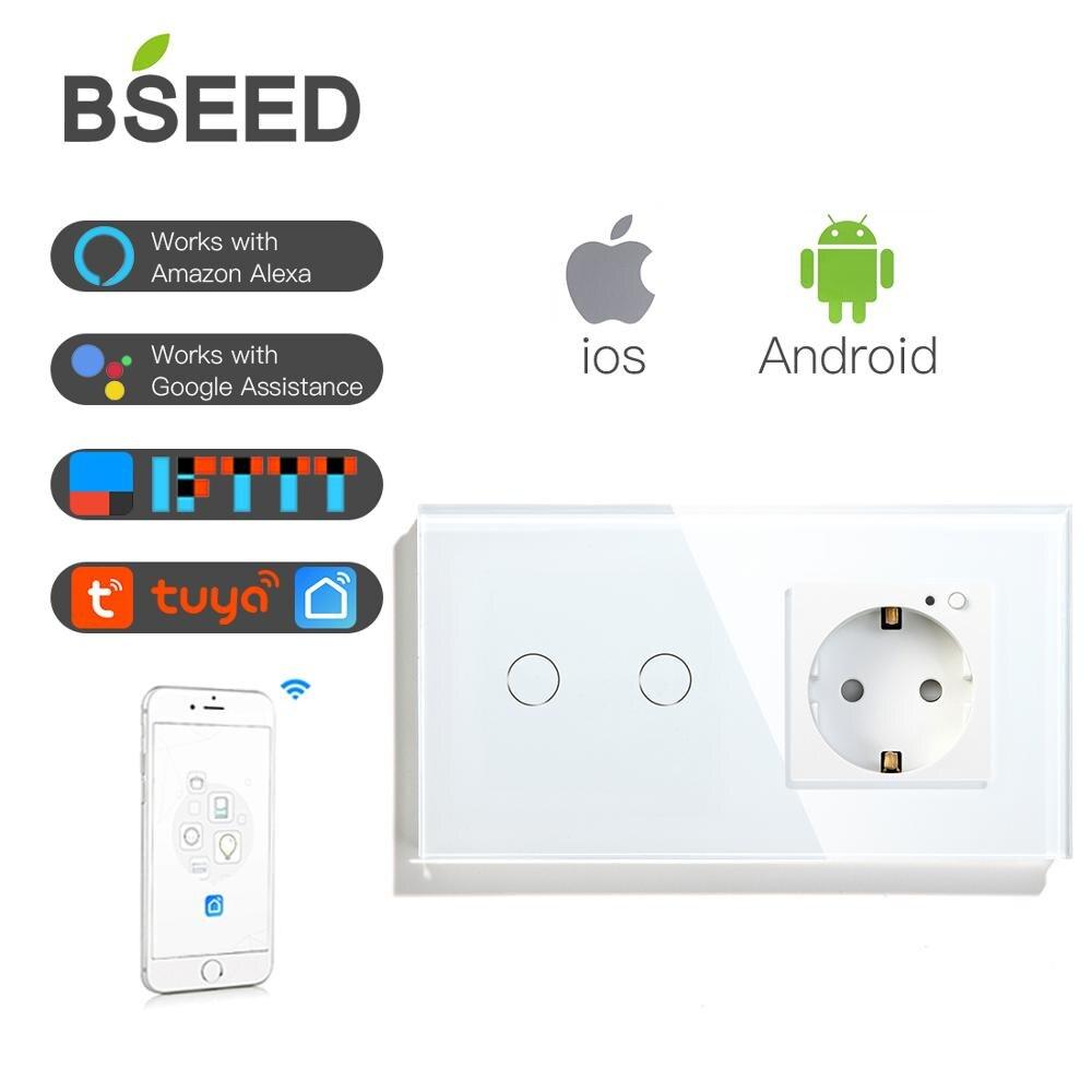Commutateur tactile wifi BSEED 16A 2 voies 1 voie et wifi norme européenne Schuko EU prise maison avec panneau en verre cristal blanc commutateur intelligent