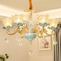 Китайский Стиль современные Керамика люстра Гостиная отель Luxuriou кристалл лампы ресторан бар синий светодиод хрустальная люстра подвесные