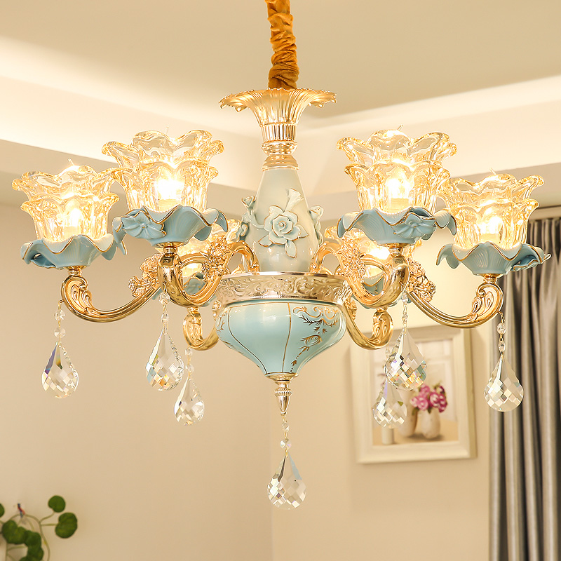 Chinese Style Contemporary Ceramic Chandelier Living Room Hotel Luxuriou Crystal Lamp Bar Restaurant Blue led Crystal Chandelier chinese style wooden 1 2 3 heads lamps chinese restaurant new classical restaurant chandelier wooden sheepskin chandelier