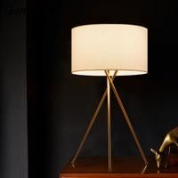Tecido moderno abajur candeeiros de mesa led suporte tripé ouro luz da mesa em pé luzes para o quarto lâmpada estudo cabeceira decoração da sua casa