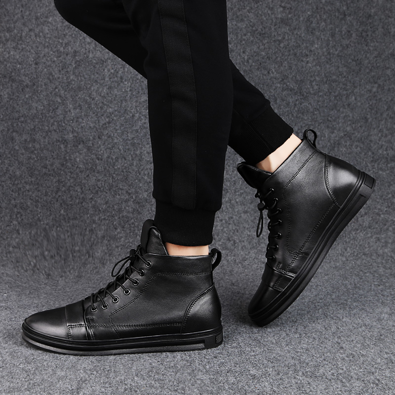 2019 winter men 39 s boots casual genuine leather cow work shoes plus size 48 military boot man black shoe ankle snow boots for men in Work amp Safety Boots from Shoes