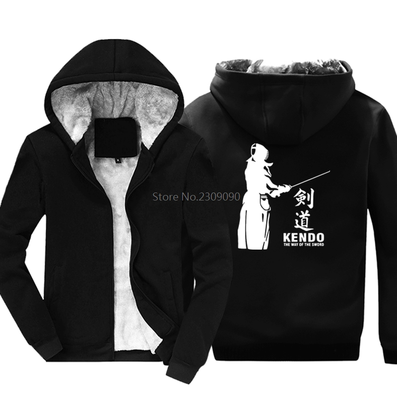 New Kendo The Way Of The Sword Print Hoodies Casual Men's Cotton Thicken Keep Warm Male Hip Hop Sweatshirt Cool Harajuku Jacket