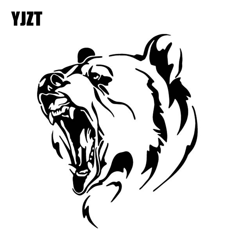 YJZT 13.6CM*16.4CM Roaring Brown Bear Pattern Bumper Decorate Car Stickers Vinyl Decal Black/Silver C4-1373