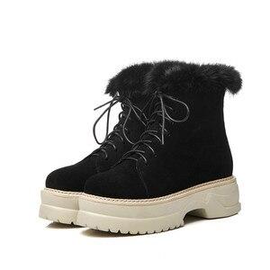 Image 3 - MORAZORA 2020 הגעה חדשה אמיתי עור קרסול מגפי תחרה עד פלטפורמת נעלי אופנה חורף מגפי להתחמם שלג מגפי נשים