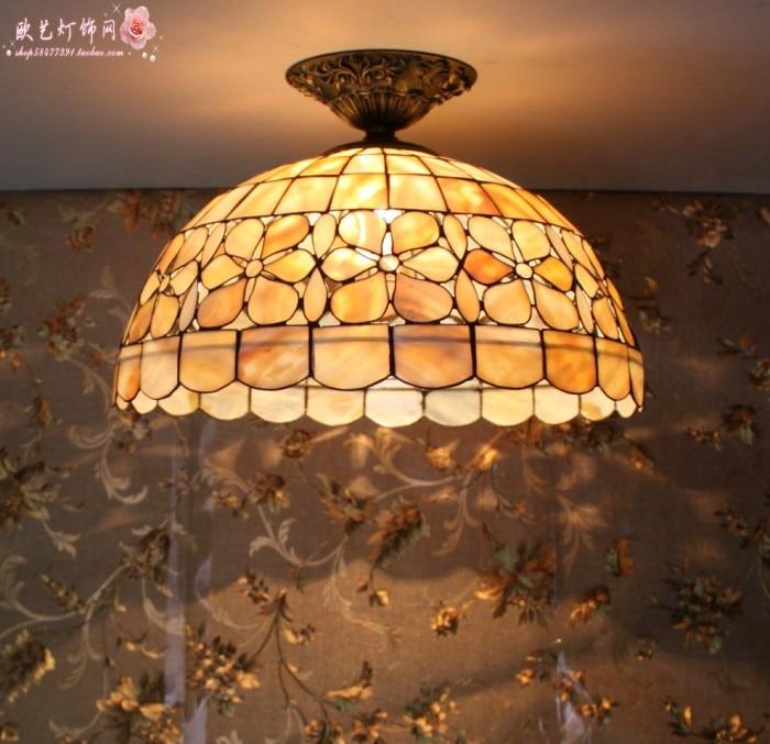 12inch mediterranean tiffany style shell ceiling light for restaurant bar study lamp 110-240V