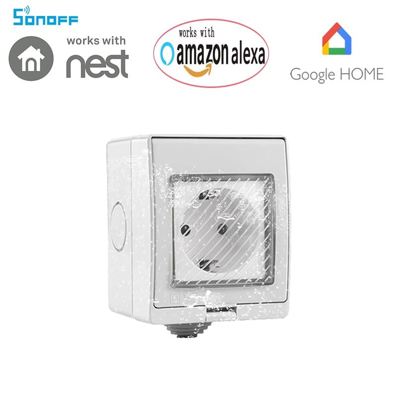 Nouveau Ewelink app Sans Fil WiFi Minuterie IP55 Étanche Prise 10A à distance Alimentation Plug Travail Avec Un-mazon Alexa et Google la maison