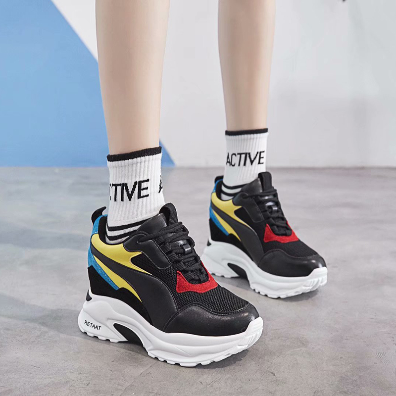 купить Dumoo 2018 New Shoes Sneakers Women Pig Leather High Heel 8cm Mixed Colors Leisure Platform Wedges Height Increase Lady Shoes по цене 3049.69 рублей
