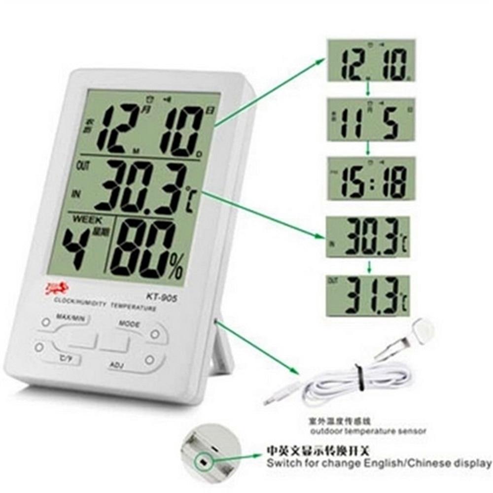 1 Stück Digital Thermometer Wet & Dry Test-50 ~ 70 C Uhr Industrielle Krankenhaus Haushalt Mit Temperatur Sonde Indoor & Outdoor
