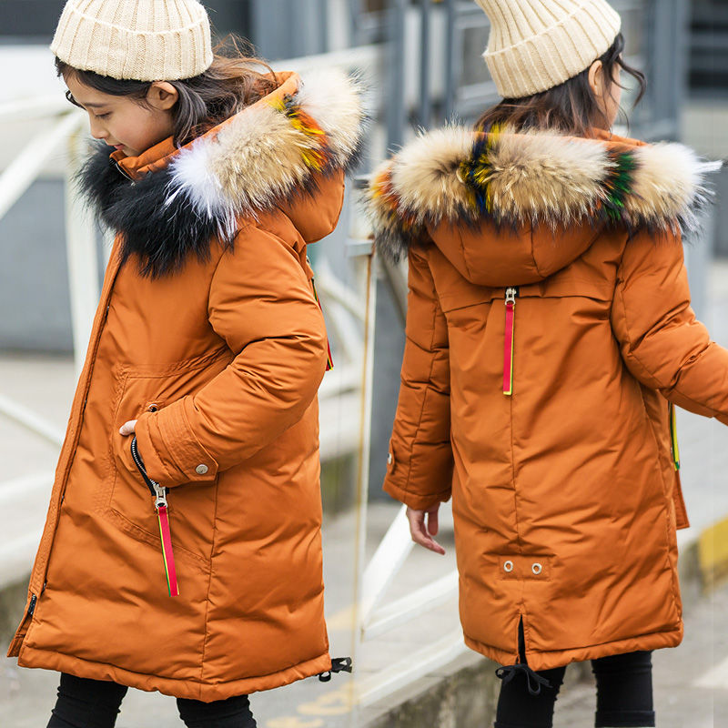 2018 children girls' down jacket thicken warm winter coat girl parkas teenage long jackets raccon fur on hooded down jackets winter jacket female parkas hooded fur collar long down cotton jacket thicken warm cotton padded women coat plus size 3xl k450