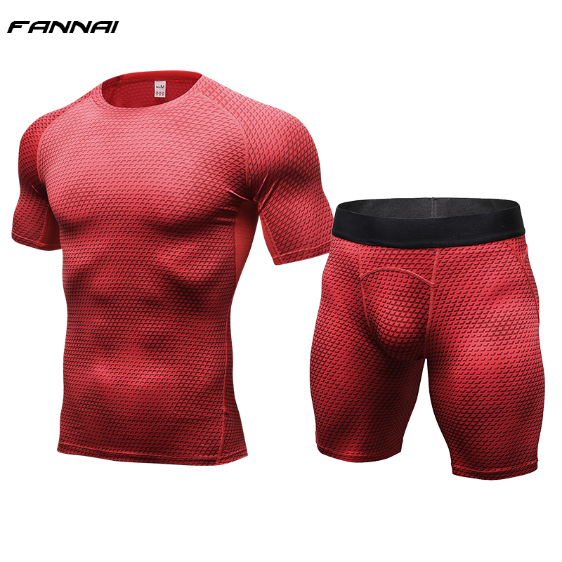 2018 New Fitness Men Compression Running Sets Short Sleeve T Shirt + Shorts Quick Dry Bodybuilding Tracksuit Tights Shirts