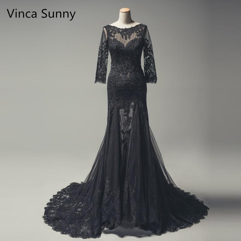 Robe De Soiree 2019 Mermaid   Evening     Dress   Black Floor Length Tulle With Lace Beaded Long sleeve Prom   dress   Vestidos De Festa