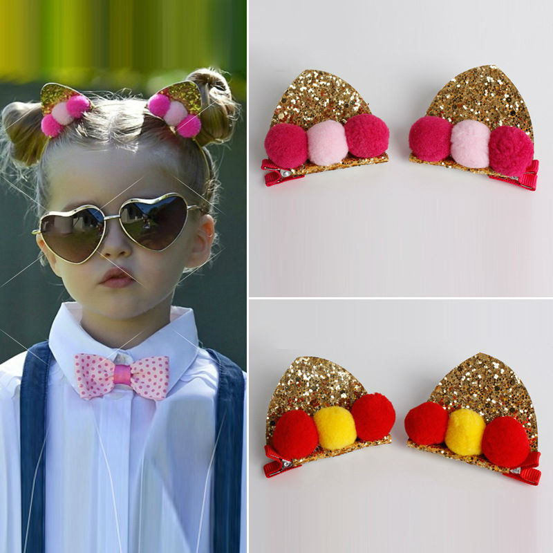 #61022 2pcs/lot Free Shipping Hairclip Sale Cute Cat Ear Wrapped Glitter Sequins Hair Clips Hair Accessories