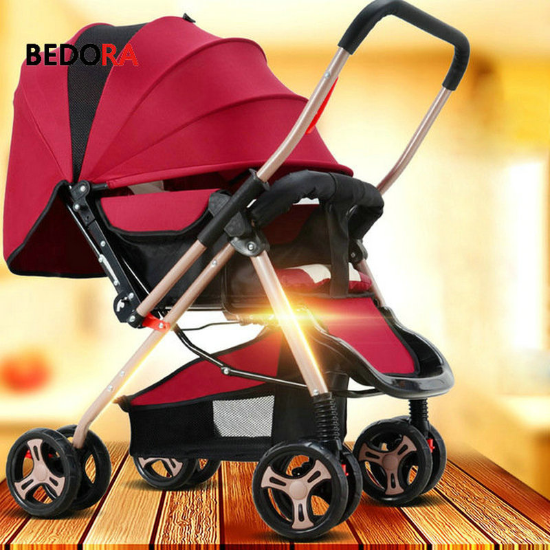 Bedora baby stroller two way can sit reclining ultra light portable folding child four wheeled baby umbrella cart baby stroller ultra light portable shock absorbers bb child summer baby hadnd car umbrella