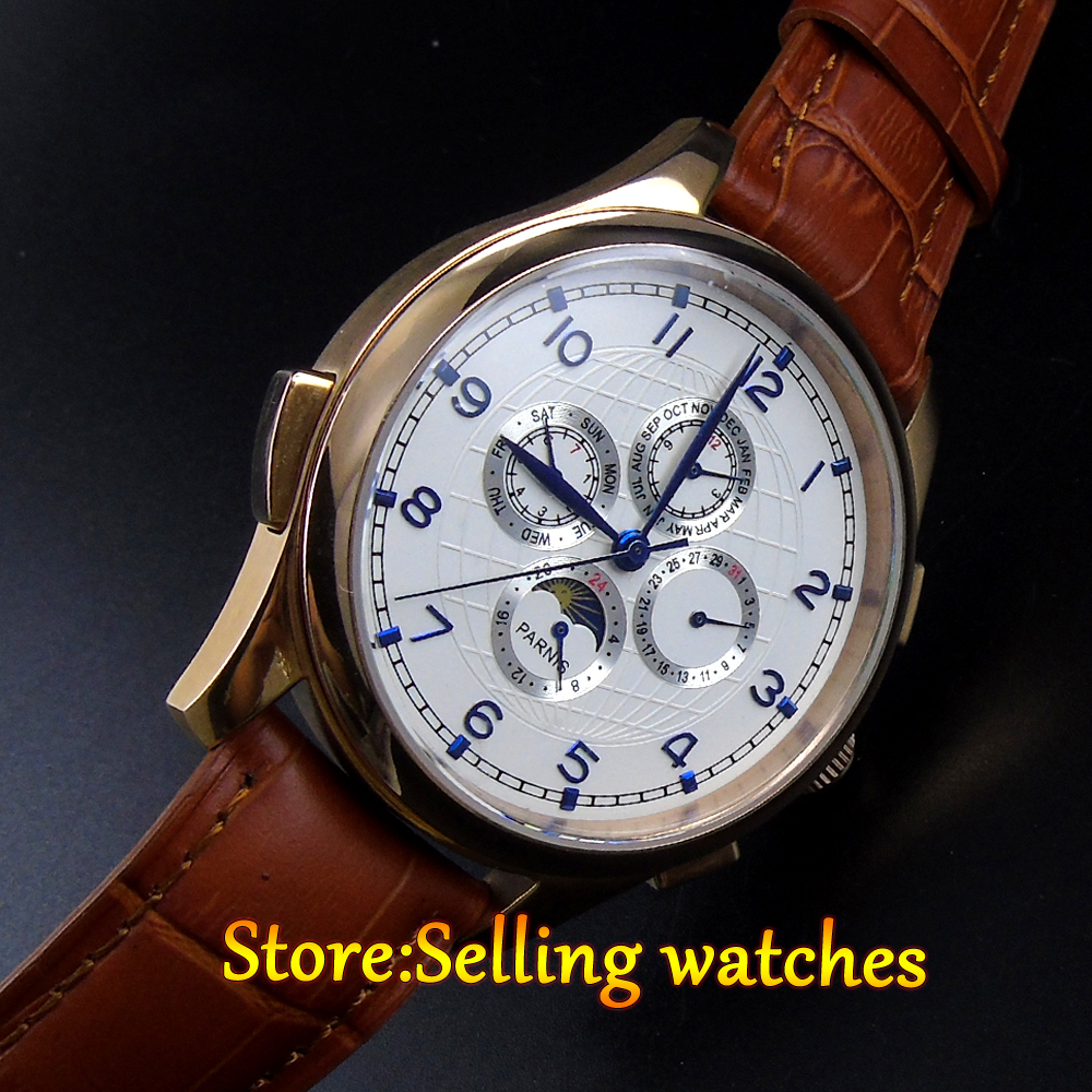 Parnis watch 44mm golden color case White dial Silver hands Moon Phase  Multifunction Automatic Self-Wind movement Men's watch chic xinhua 701 round pink dial star shaped case bracelet watch with dots hour marks for women white