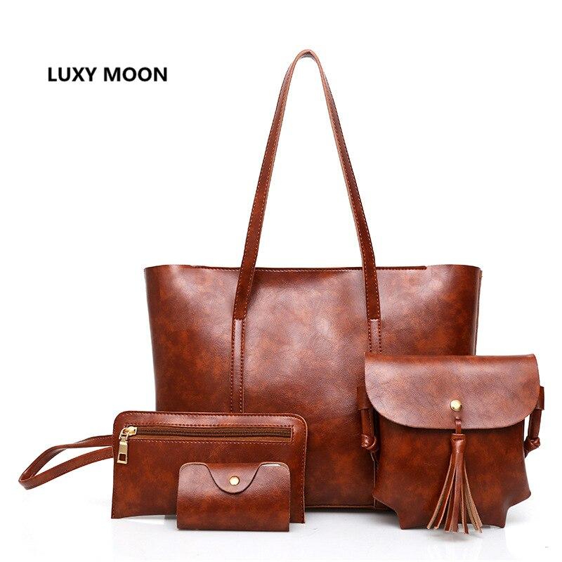 4pcs Composite Bag Set Luxury Ladies Handbags Oil Wax Leather Women Bags Designer sac a main Vintage purses Shopping Totes A15