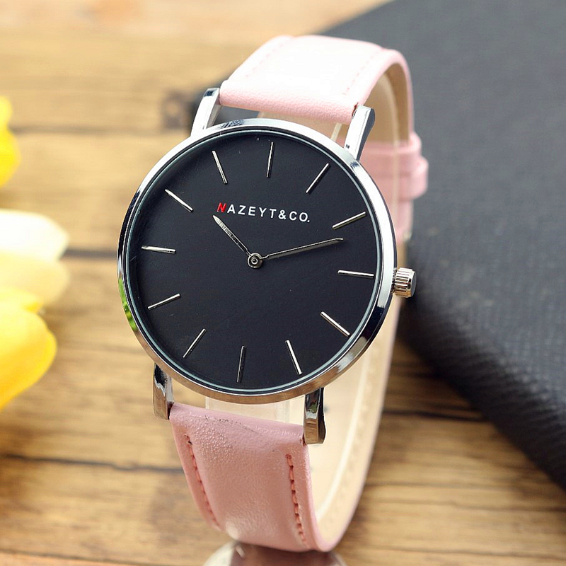new fashion women and men luxury brand 40mm Daniel type bauhaus quartz watch student simple dial pink leather casual lover clock fashion new personality black and white dial lover s quartz watch women top brand couple pu leather wristwatch reloj male clock