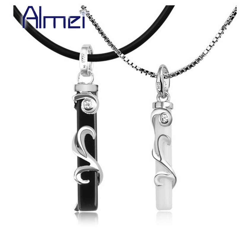 Hot Sale Fashion Statement Couple Necklace Blacek White for Men Women Boyfriend Lovers Gifts High Quality