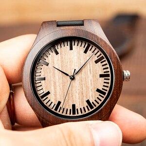 Image 4 - Bobo Bird كلاسيكي مستدير أسود خشب الأبنوس ساعات خشبية للرجال ساعة كوارتز جلدية في صفقة المبيعات