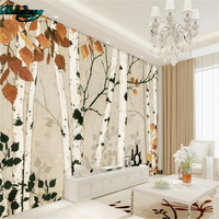 Beibehang High Definition Simple Birch Forest TV Background Wall Custom Lounge Wallpaper Fresco Decoration