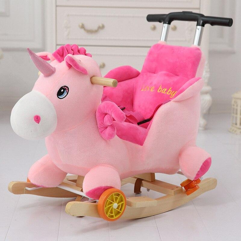 Multi-fonction En Bois et en peluche animaux Licorne Éléphant Mickey cheval à bascule Cheval De Troie jouet chaise à bascule bébé transport Enfant chariot