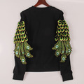 2016 new year sweatshirt women peacock feathers sequined hoody hoodies fashion tracksuits pullovers women woman tops Sakura