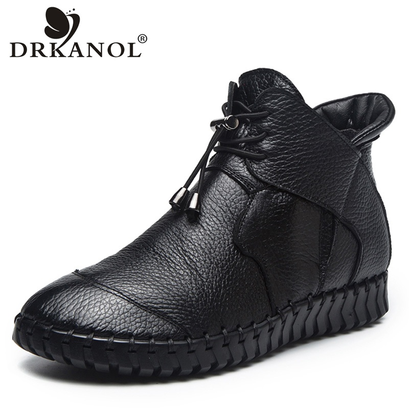 DRKANOL 2019 Women Genuine Leather Ankle Boots Autumn Winter Warm Boots Handmade Flat Leather Shoes Women Short Boot Size 35-43