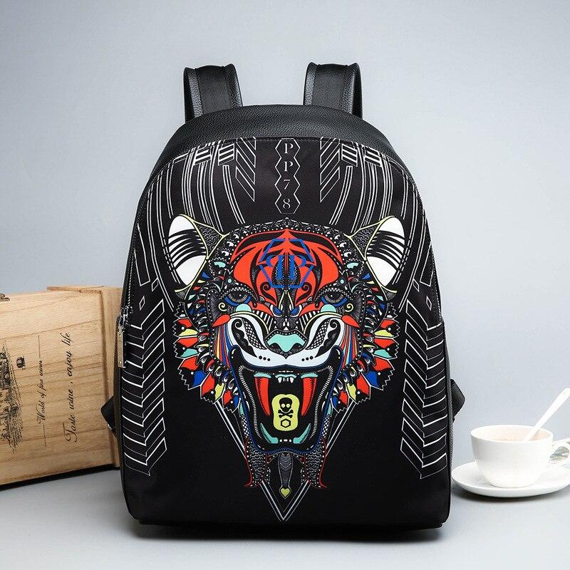 Dames sac à dos en simili cuir polyuréthane sac à bandoulière portable animal tête de tigre sac à dos ordinateur de voyage