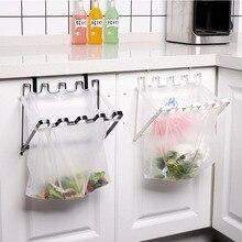 Creative Iron Door Back Hanging Trash Bin Rack Storage Kitchen Garbage Rubbish Bag Can Holder Cabinet