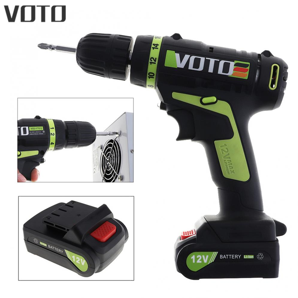 VOTO 12V Electric Screwdriver with Lithium Battery Rechargeable Parafusadeira Furadeira Multi-function Cordless Electric Drill 25v electric screwdriver lithium battery rechargeable parafusadeira furadeira multi function cordless electric drill power tools