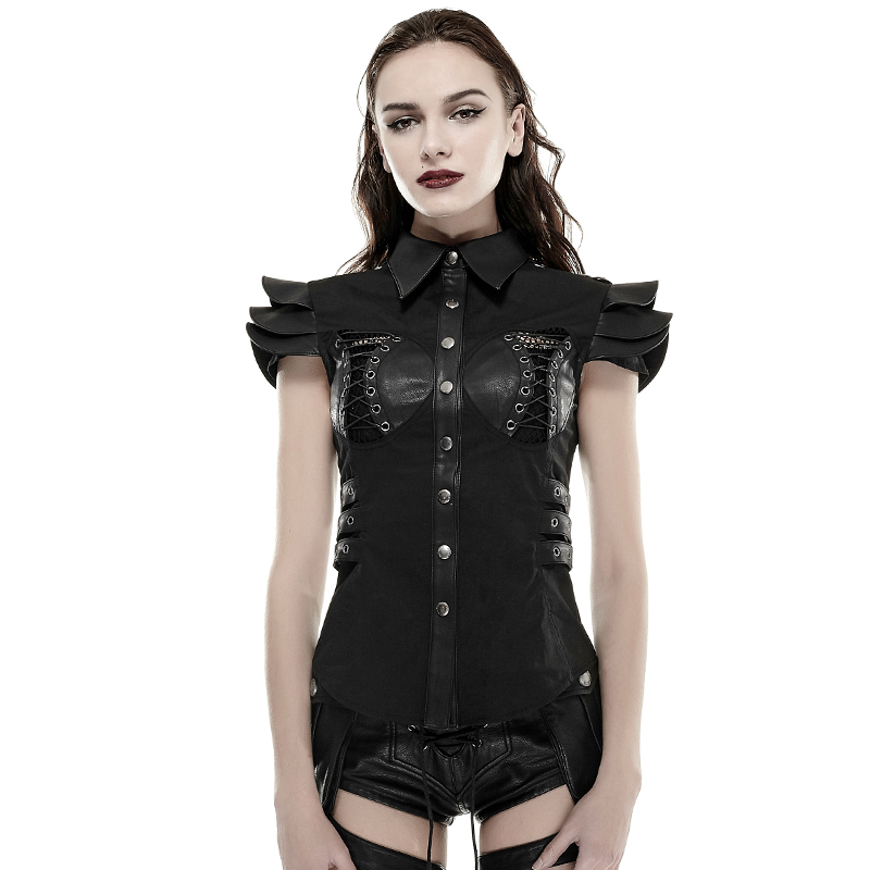 New Arrival Punk Armor Fold Female Bodycon Slim T-Shirt Gothic Steampunk Black Sleeveless Sexy Hollow Out Leather Tee Shirt Tops