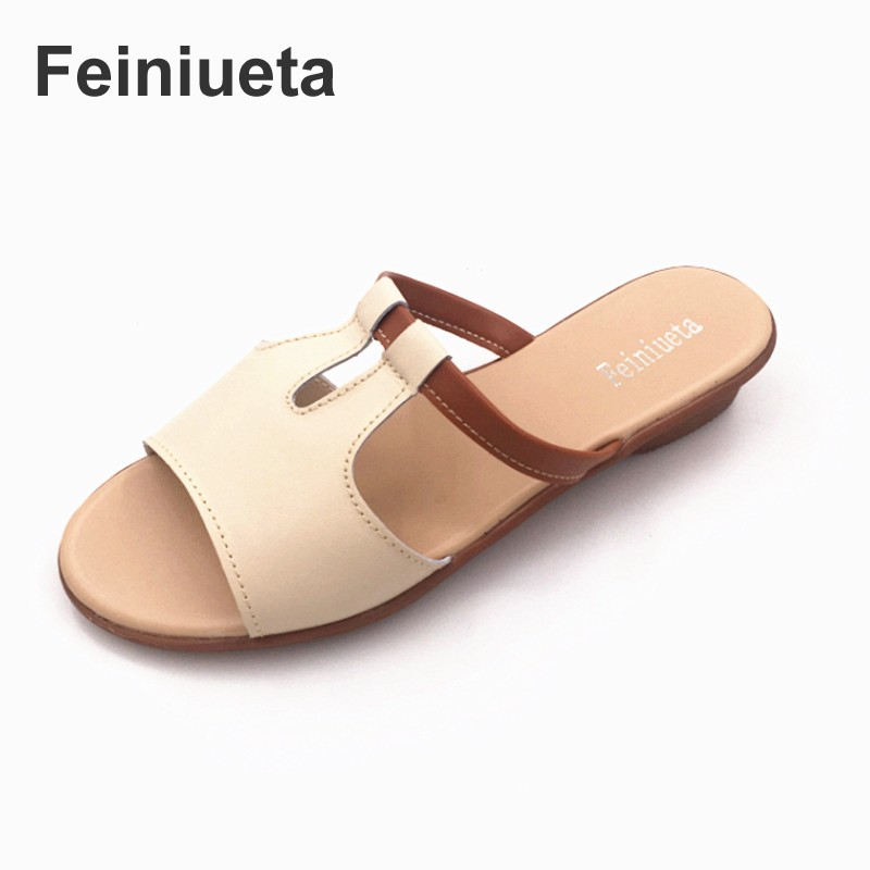 Feiniueta 2017 summer slippers female word drag sandals women leather flat shoes Korean fashion cool slippers women sandals qiu dong season with plush slippers female students in the summer of 2017 the new han edition joker fashion wears outside a word