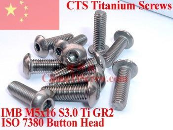 Titanium screws M5x16 ISO 7380 Button Head Hex Driver Ti GR2 Polished 10 pcs 20pcs m3 6 m3 x 6mm aluminum anodized hex socket button head screw
