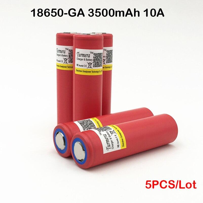 18650 3500 mAh batterie NCR18650GA Rechargeable li ion Batterie 3.6 V 10A décharge Flat Top Batterie pour Turmera 5 pcs 1