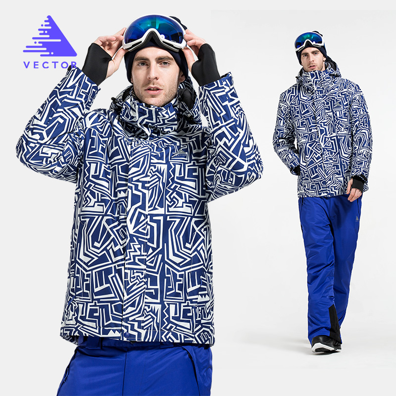 VECTOR Warm Winter Ski Suit Men Windproof Waterproof Snow Skiing Jacket Pants Outdoor Snowboard Set HXF70012