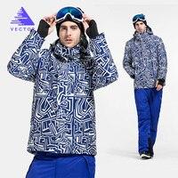 Вектор теплая зима лыжный костюм Для мужчин ветрозащитный Водонепроницаемый снег Лыжный спорт куртка/штаны Открытый комплект сноуборд