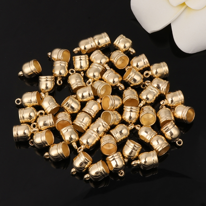 50x White/Gold/Gun Black Tassel Caps Leather Cord End Caps Jewelry Making for DIY Accessories 6-10mm