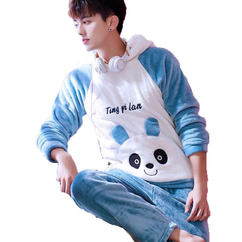 Kawaii Cute Cartoon Hooded Pajama Set Men Pyjama Homme Winter Thick Warm  Flannel Nightgown Male Sleepwear Sleeping Clothes