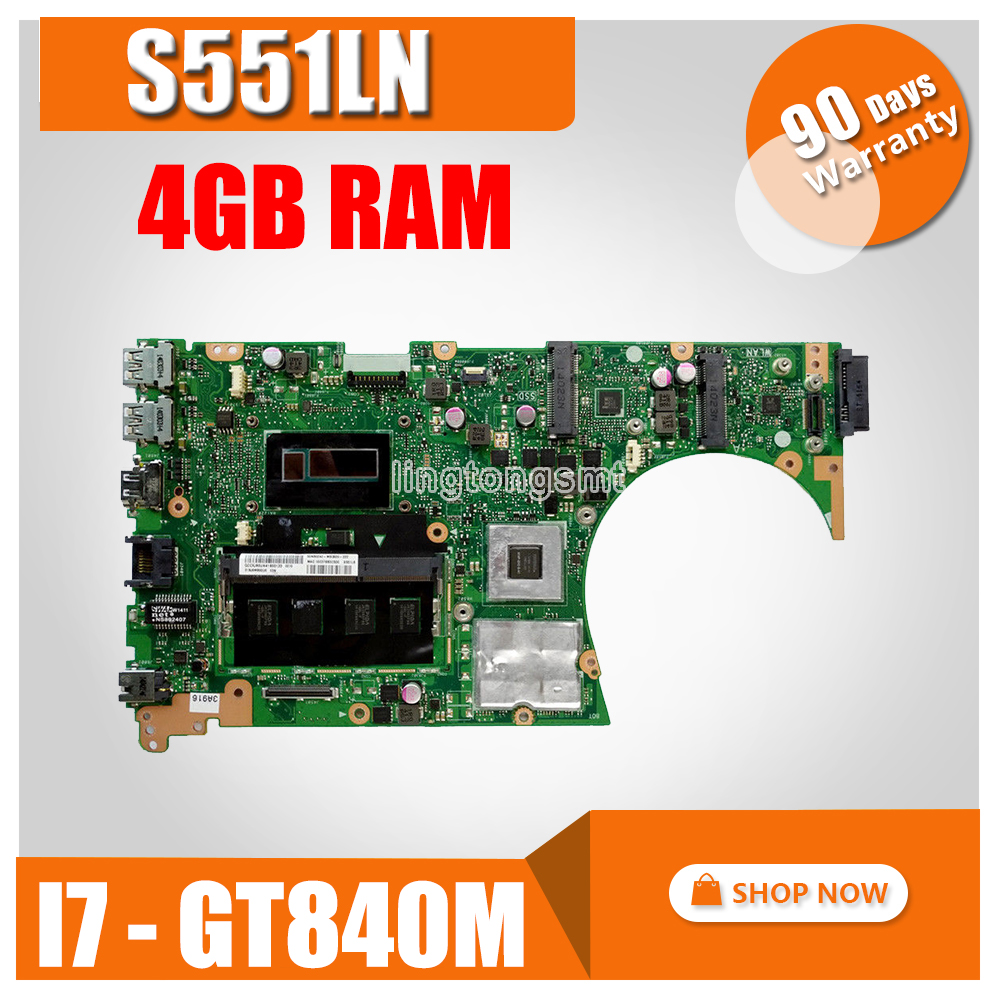 S551LN MB._4G/I7 4500U/AS GeForce V2G 90NB05F0 R000 Mainboard For ASUS K551L K551LB K551LN S551L S551LB R553L Laptop Motherboard-in Motherboards from Computer & Office    1
