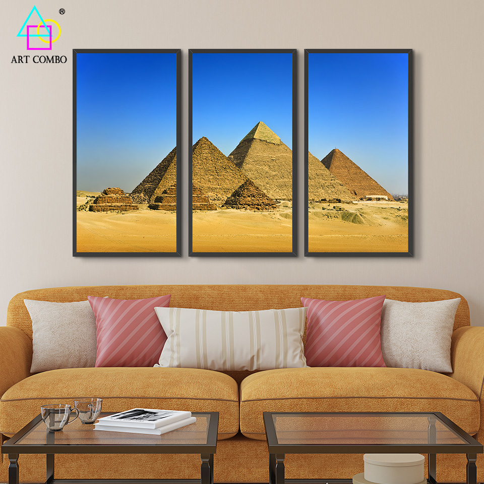 Triptych Landscape Painting Pyramid Great Wall Paintings