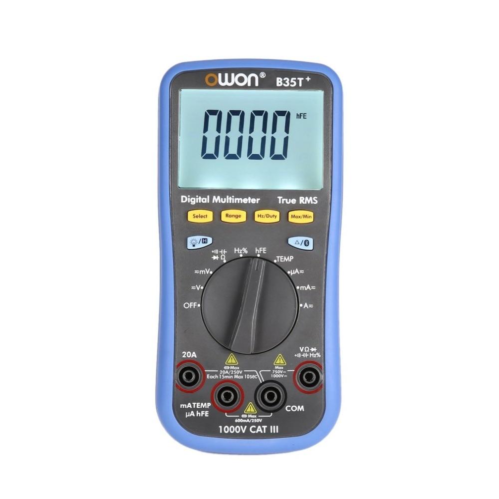 Owon B35T + Подсветка цифровой ЖК-дисплей мультиметр AC/DC Вольтметр Амперметр True RMS диод hFE сопротивление непрерывности тестер Bluetooth