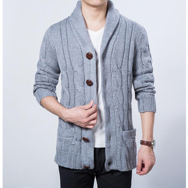 7d31925fc3d9c Korean Fashion Wooden Button Winter Male Cardigan Sweater Men Shawl Collar  Knit Coat Grey Navy-in Cardigans from Men s Clothing on Aliexpress.com