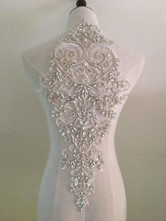 big size rhinestone collar applique, crystal bodice crystal applique for wedding dress altering, handmade DIY supplies