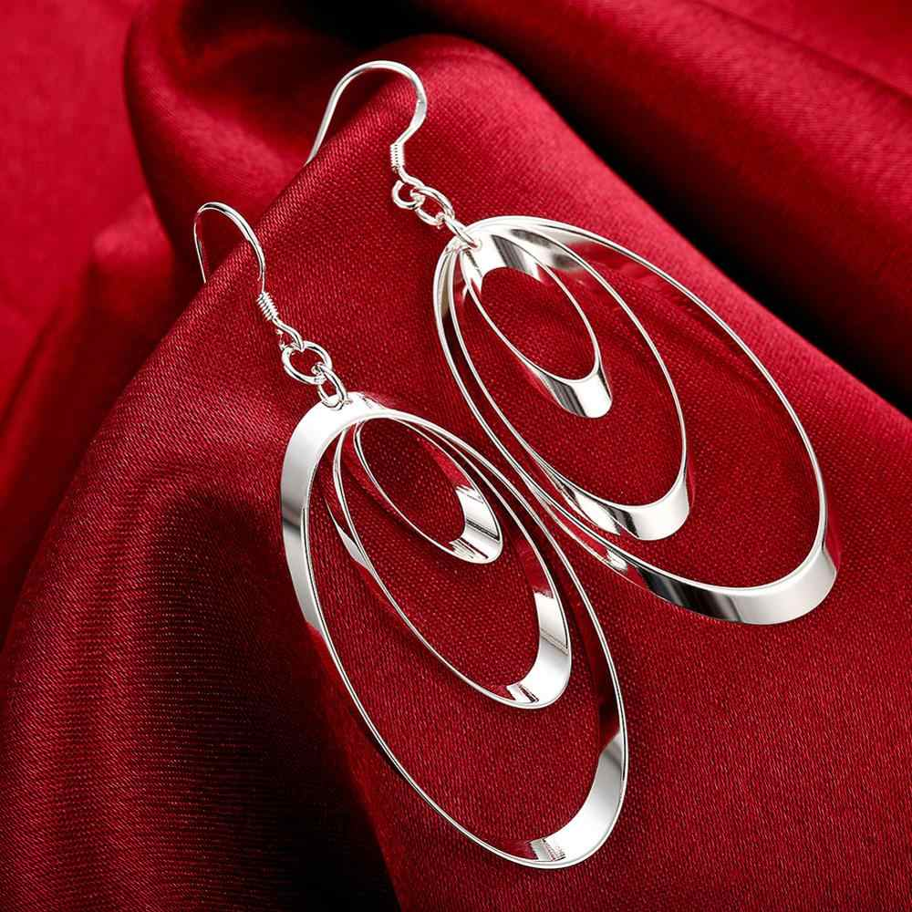 Exaggeration earrings Wholesale silver plated long Dangle earrings for women wedding jewelry Rhinestone Nickle free
