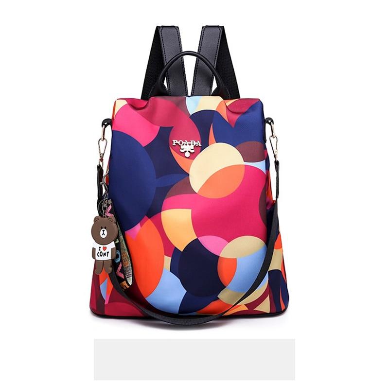 Fashion Women Backpack Purse Sling Bag Oxford Waterproof Anti-theft Backpack Bags Convertible School Shoulder Bags