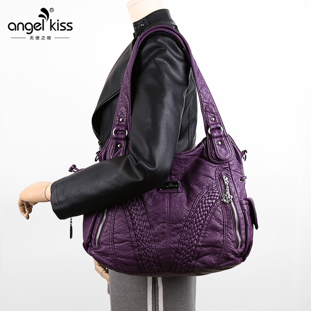PU Washed Leather Ladies Handbags