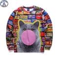 Mr.1991 brand 12-18 years big kids thin sweatshirt girl youth fashion big cat 3D printed hoodies girls jogger sportwear W28