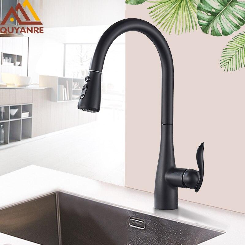 Quyanre Matte Black Pull Out Kitchen Faucet Single Handle Mixer Tap Kitchen 360 Rotation Kitchen Mixer Tap Kitchen Water Tap
