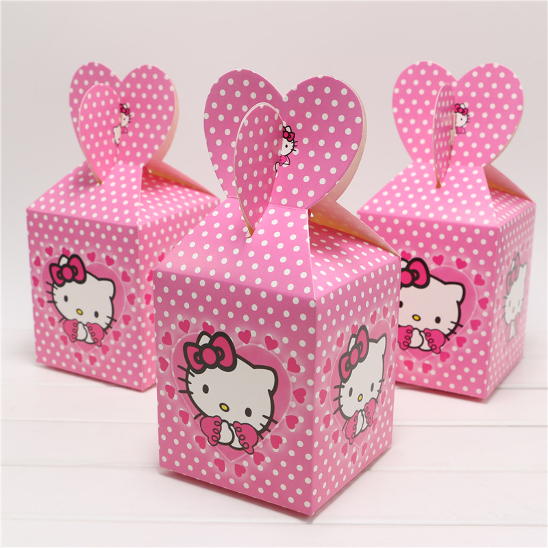 10pcs/lot cute cartoon hello kitty candy box decor baby shower party lovely happy birthday party decoration supplies favor