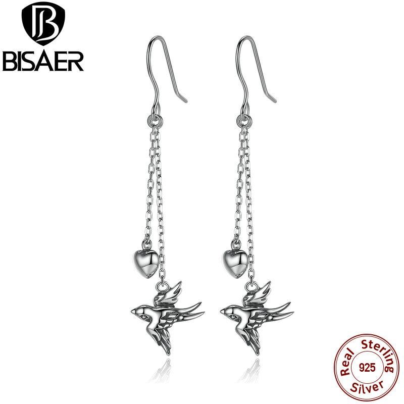 925 Sterling Silver Earrings Free Bird Long Hanging Drop Earrings Brincos Fashion Fine Jewelry Drop Earrings For Women GXE005
